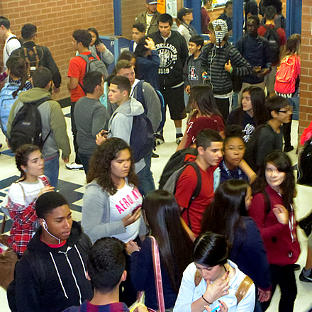 Pueblo High School Crowded Hallways