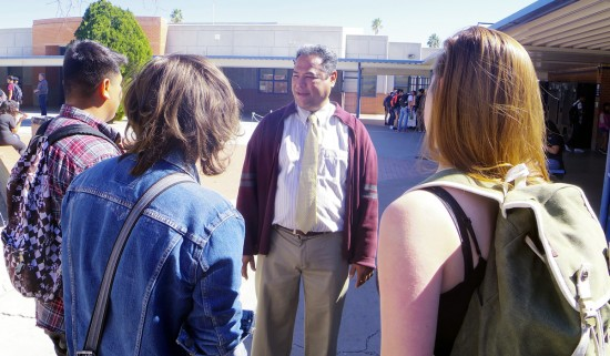 New Assistant Principal David Montaño Talking To Pueblo Students At Lunch